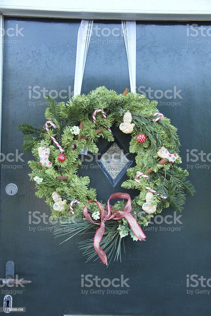 Christmas wreath on a door royalty-free stock photo