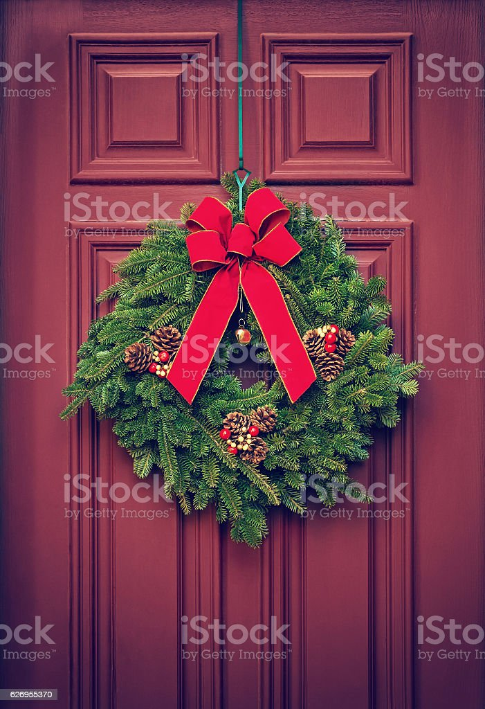 Christmas Wreath On A Red Door Stock Photo More Pictures Of Berry