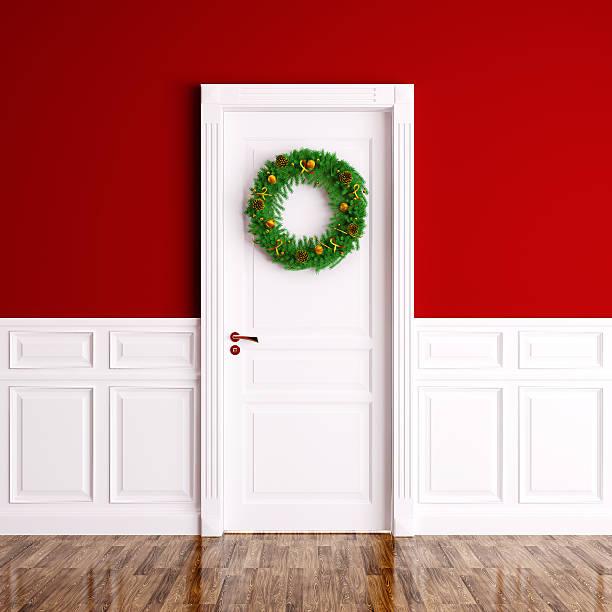 weihnachtskranz an der tür 3d-abbildung weiß - türbänder stock-fotos und bilder