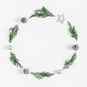 istock Christmas wreath on white background. Flat lay, top view 868072290