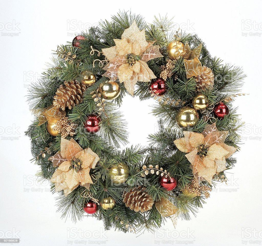 Christmas wreath on white background royalty-free stock photo