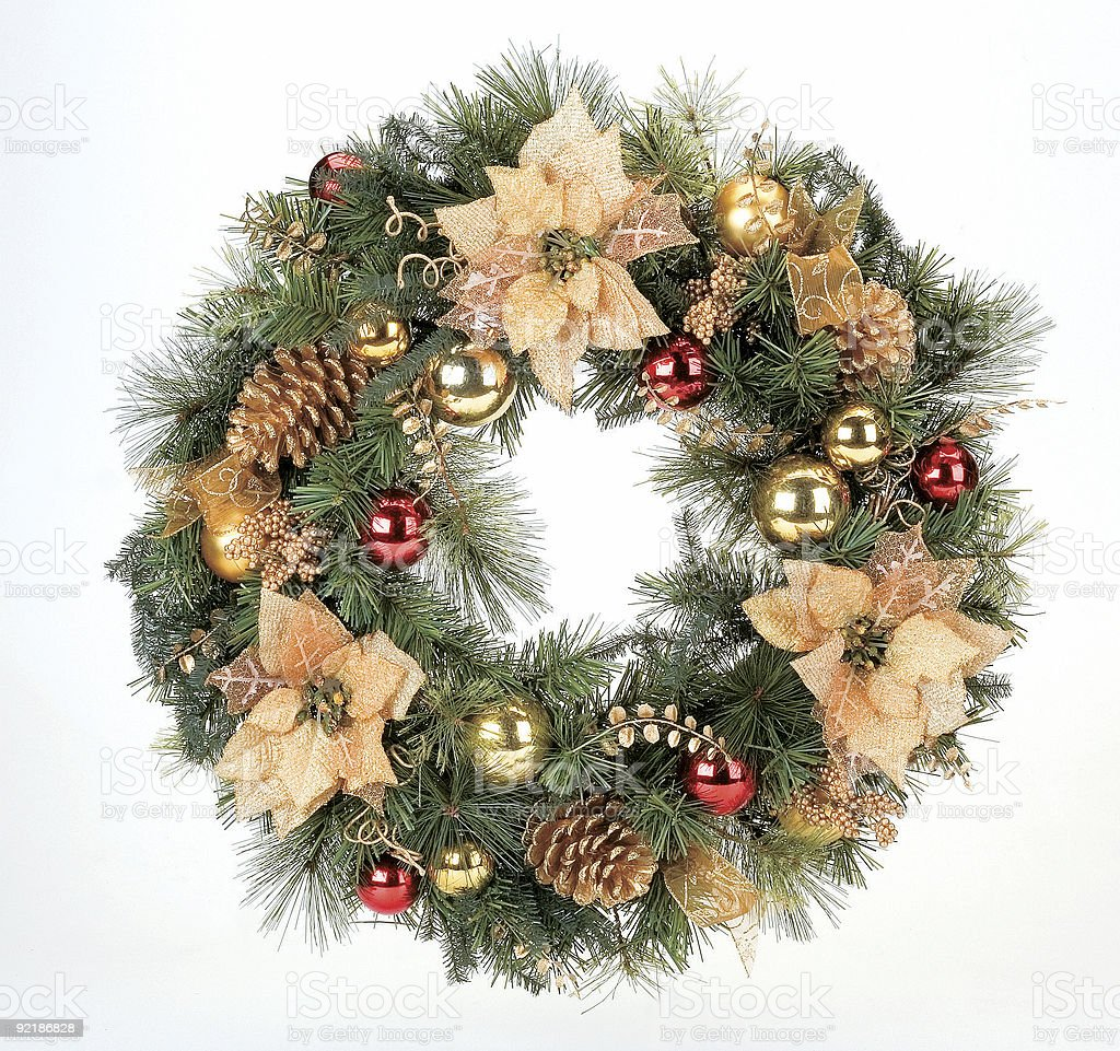 Christmas wreath on white background stock photo