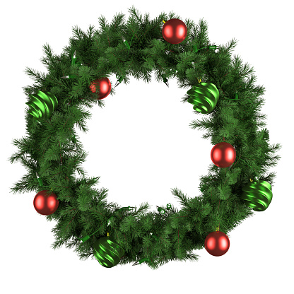 3d render of a christmas wreath with ornaments