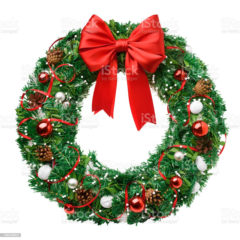 christmas wreath, red ribbon bow, isolated on white background, clipping path - Zbiór zdjęć royalty-free (Adwent)