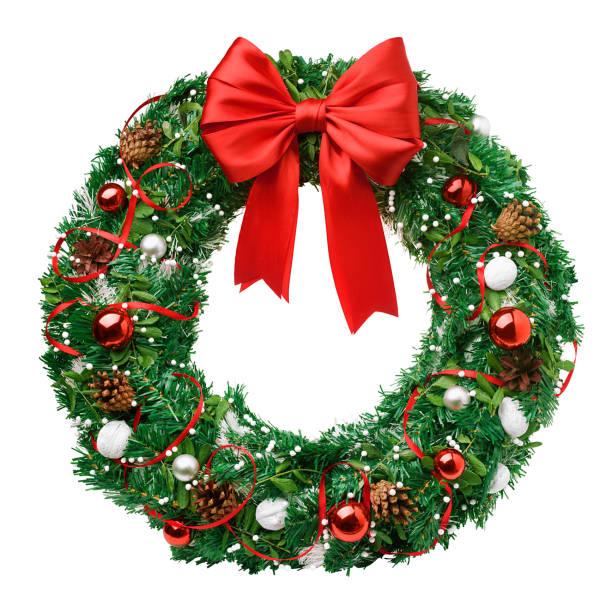 クリスマス リース、赤いリボン弓、クリッピング パス、白い背景で隔離 - リース ストックフォトと画像