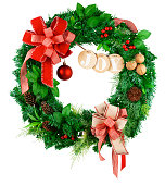 istock christmas wreath, red ribbon bow, isolated on white background, clipping path 1271007923