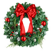 istock christmas wreath, red ribbon bow, isolated on white background, clipping path 1271008154