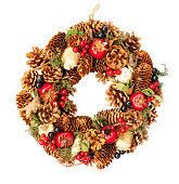 istock Christmas wreath with natural decorations 1079823794