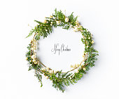 Christmas wreath with natural evegreen twigs. Flatlay. Copy space