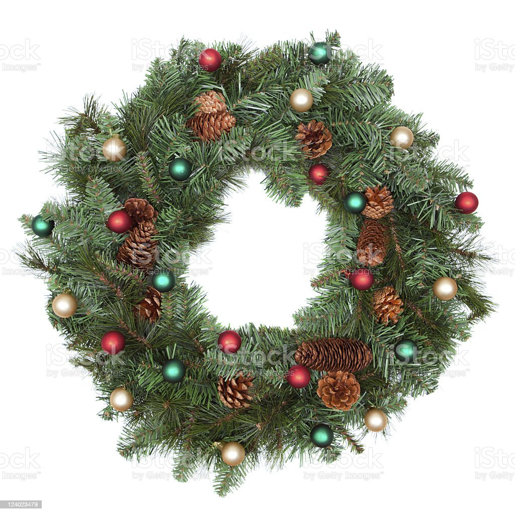 Christmas wreath with ornaments royalty-free stock photo