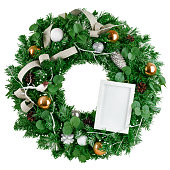 istock christmas wreath with photo frame, isolated on white background, clipping path 1271008156