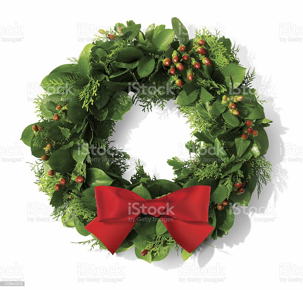 Christmas wreath with red bow B royalty-free stock photo