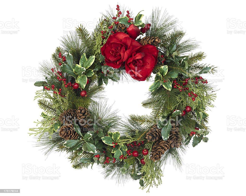 Christmas Wreath With Red Flowers On White Background Stock Photo