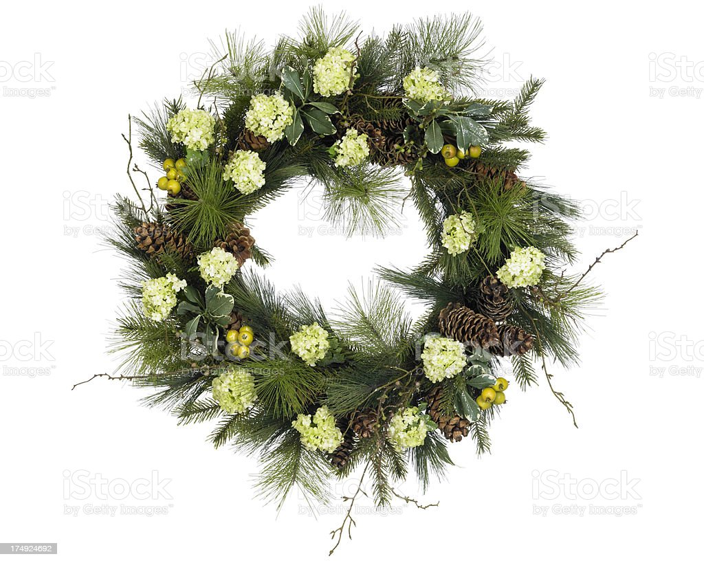 Christmas Wreath with white flowers on a white background royalty-free stock photo