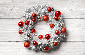 Christmas Wreath Wood Background, Hanging Holiday Decoration Balls, Wooden Wall