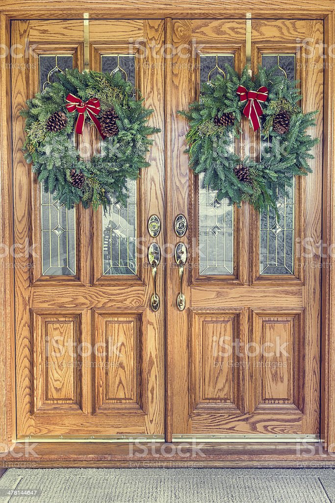 Christmas Wreaths on Front Doors stock photo
