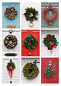 A collection of traditional Christmas Wreaths on doors in Hertfordshire, England