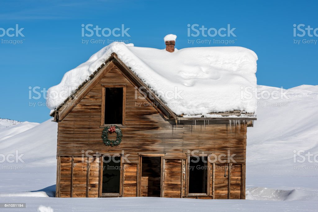 Christmas wrest on an an Idaho abandon farmhouse stock photo
