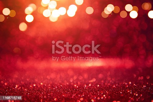 istock Christmas xmas background red abstract valentine, Red glitter bokeh vintage lights, Happy holiday new year, defocused. 1168715745