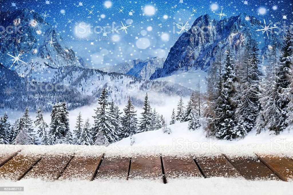 christmas xmas background with wooden snowy planks stock photo