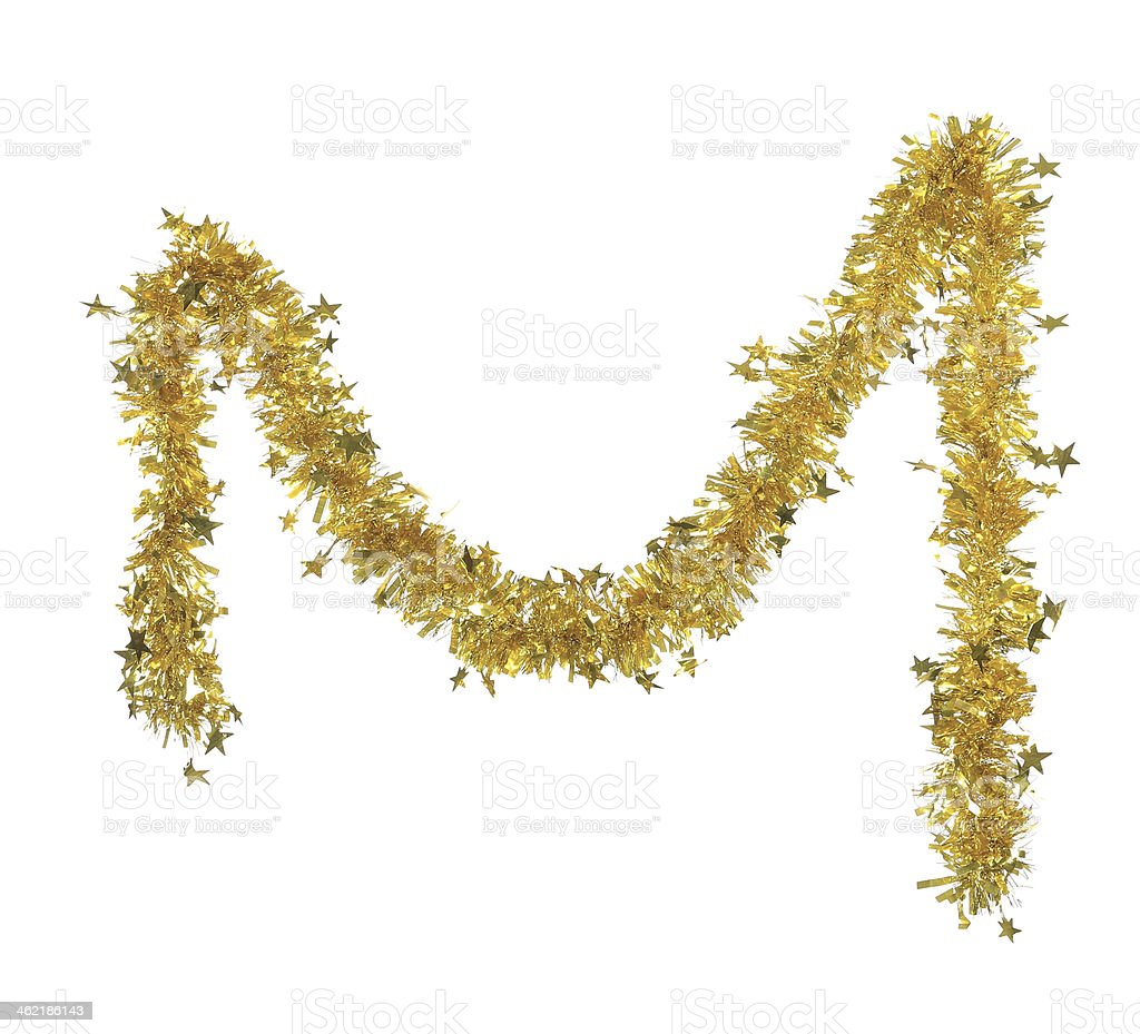 Christmas yellow tinsel with stars. stock photo