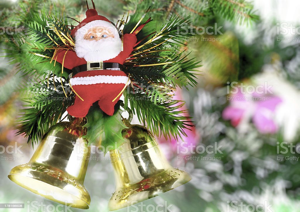 Christmas,New Year decoration-balls, green tinsel royalty-free stock photo