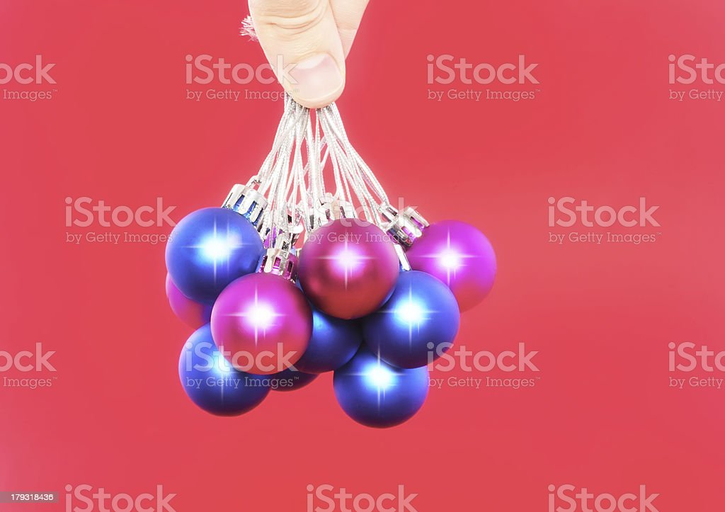 Christmas,New Year decoration-balls .On the red. royalty-free stock photo