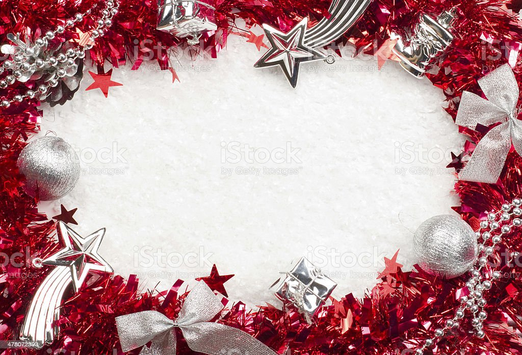 Christmass red and silver frame royalty-free stock photo