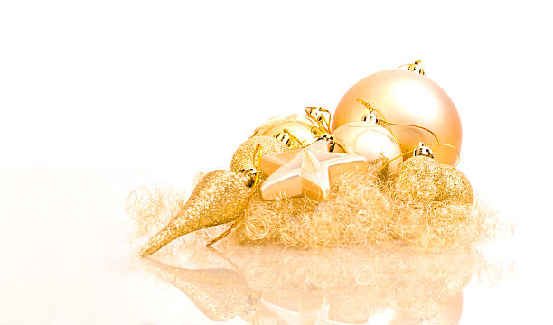 Christmass Soft Decoration in Gold stock photo