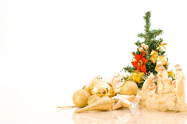 Christmass Soft Decoration - Nativity Scene in Front of Tree stock photo