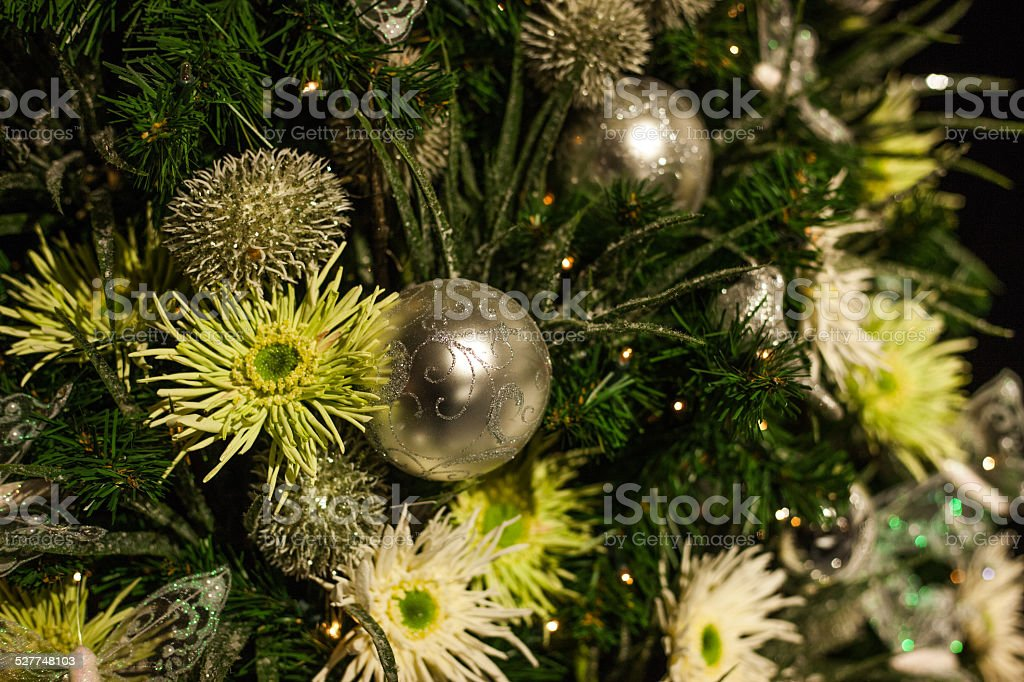 christmass sphere with birds and flowers stock photo