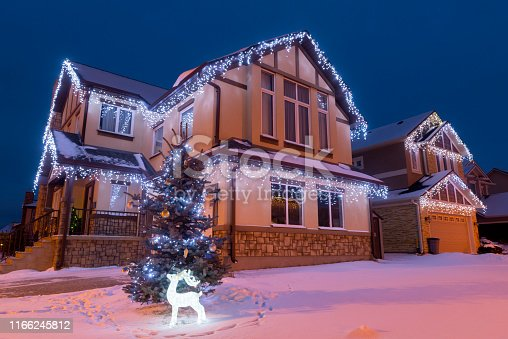 Winter suburban house