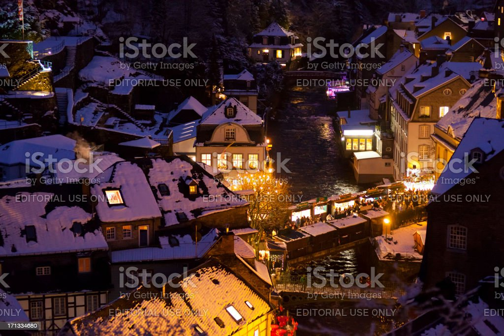 Christmassy Monschau At Night stock photo