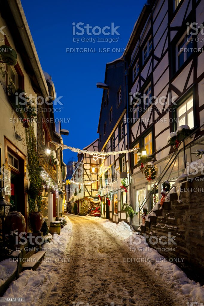 Christmassy Street At Night royalty-free stock photo