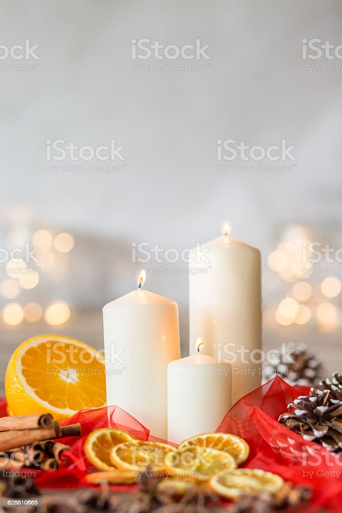 Christmassy wreath with candles stock photo