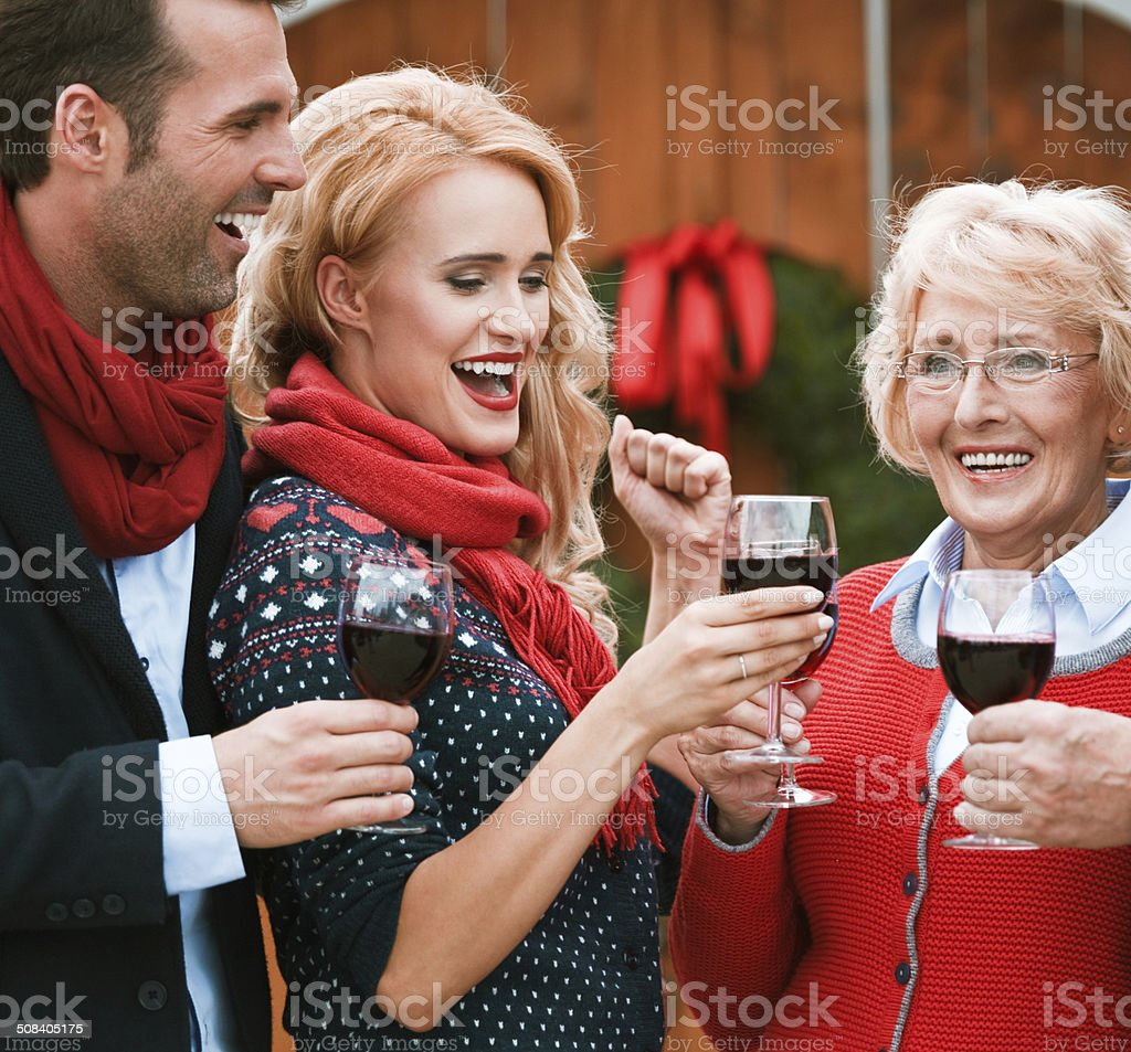 Christmast toast Outdoor portrait of happy senior woman toasting with red wine with their adult children against doors decorated with christmast wreath.  Active Seniors Stock Photo