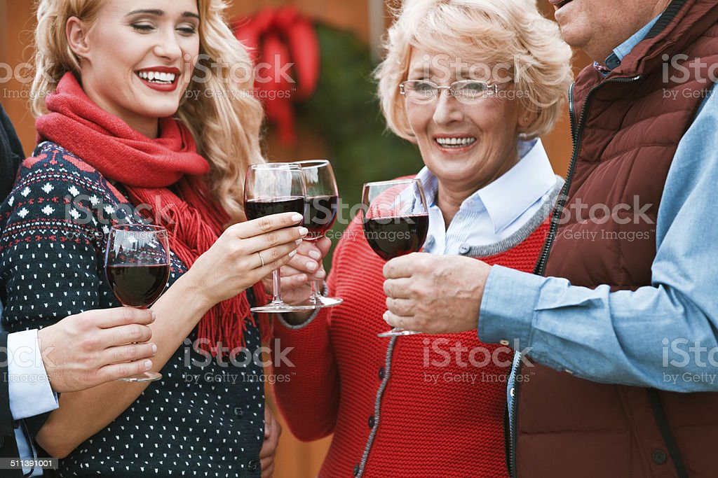 Christmast toast Outdoor portrait of happy family toasting with red wine against doors decorated with christmast wreath. Close up of beautiful women and wine glasses. Active Seniors Stock Photo