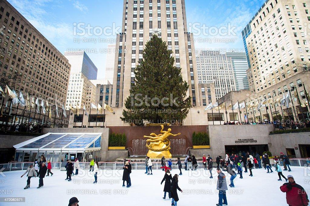 Christmastime Rockefeller Center NYC stock photo