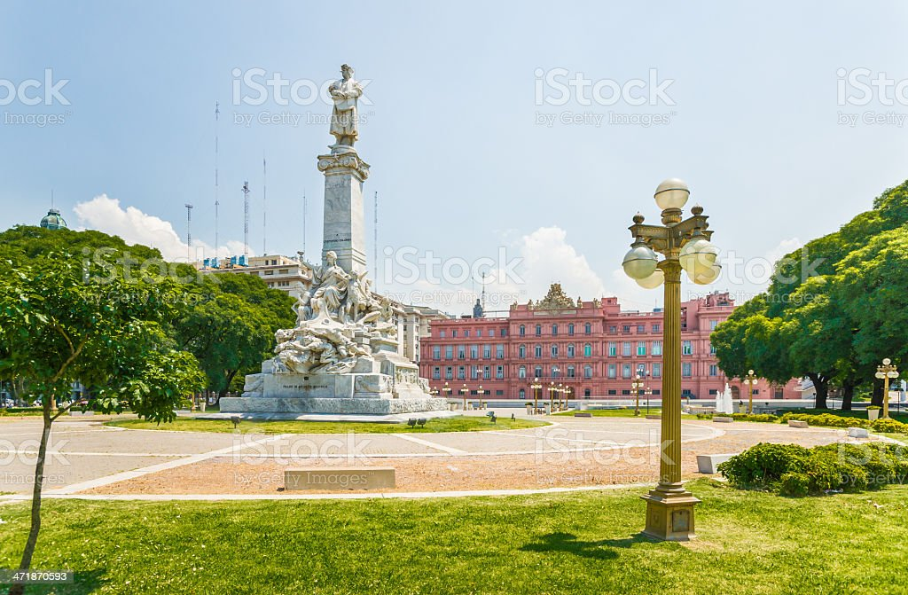Christopher Columbus Monument and Casa Rosada in Buenos Aires stock photo
