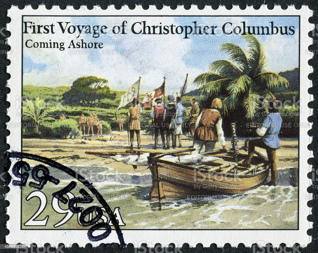 Christopher Columbus Stamp stock photo