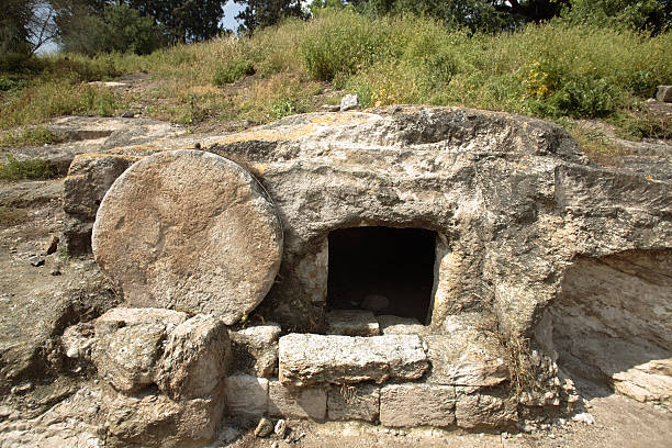 Christ's tomb A tomb near nazareth, Israel dates to the first century. Similar to Christ's tomb with the stone rolled over the entry. XLarge size. historical palestine stock pictures, royalty-free photos & images