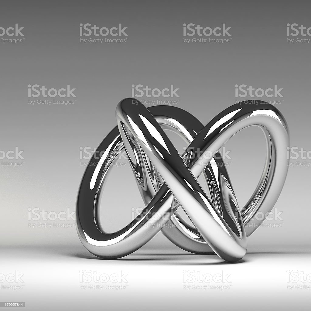 3D chrome abstract knot stock photo