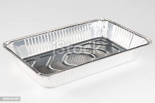 istock A chrome aluminum tray to receive food on a white background 896093484