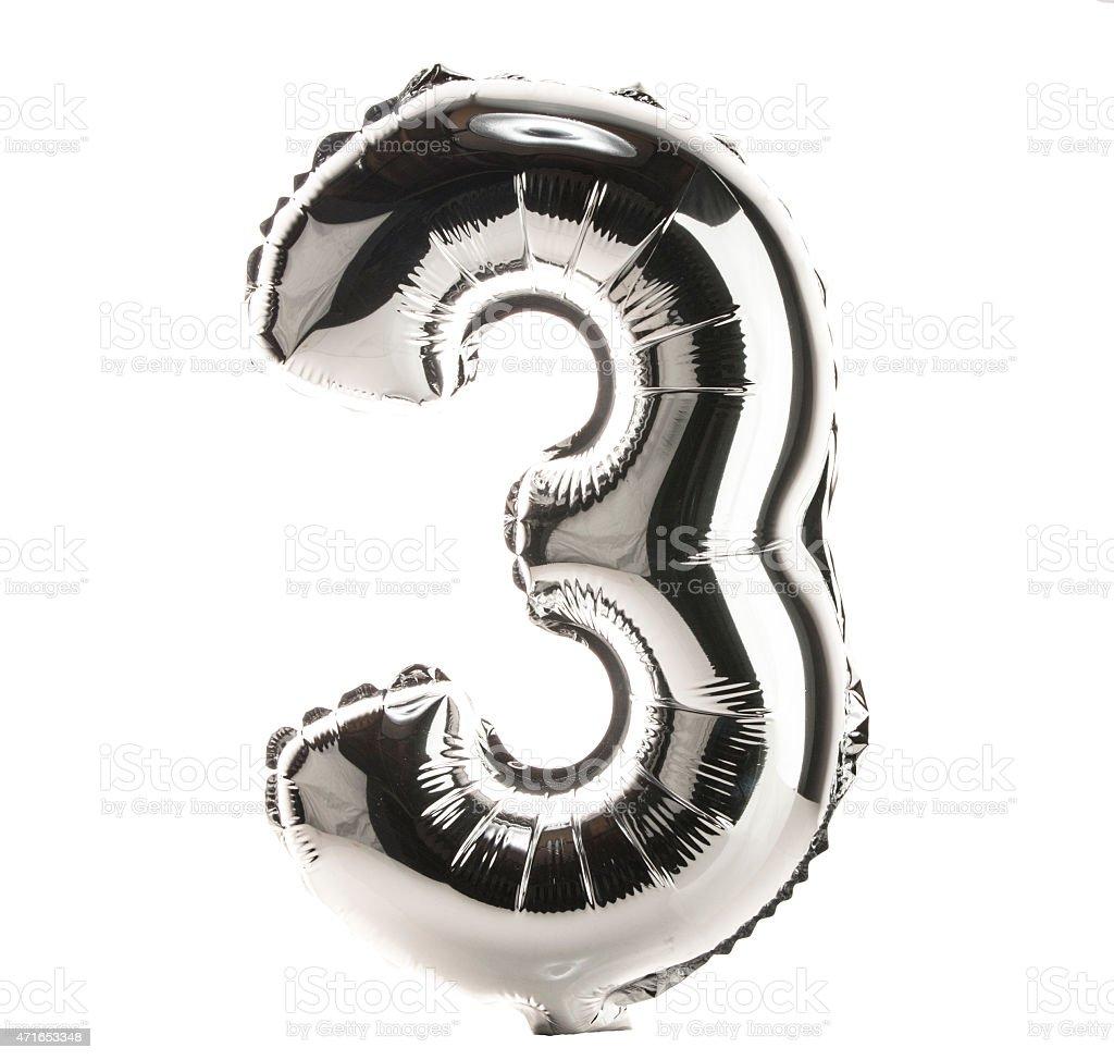 Chrome balloon font part of full set of numbers, 3 stock photo