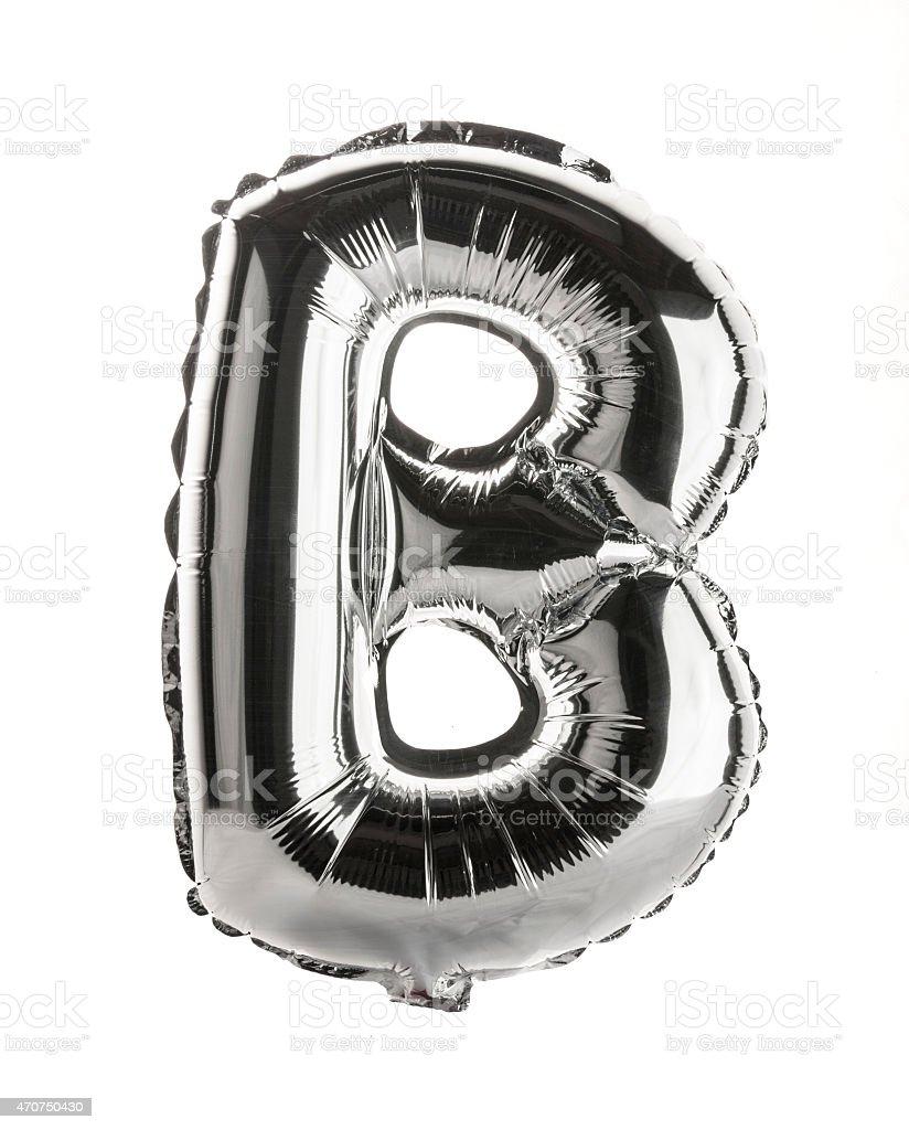 Chrome balloon font part of full set upper case , B stock photo