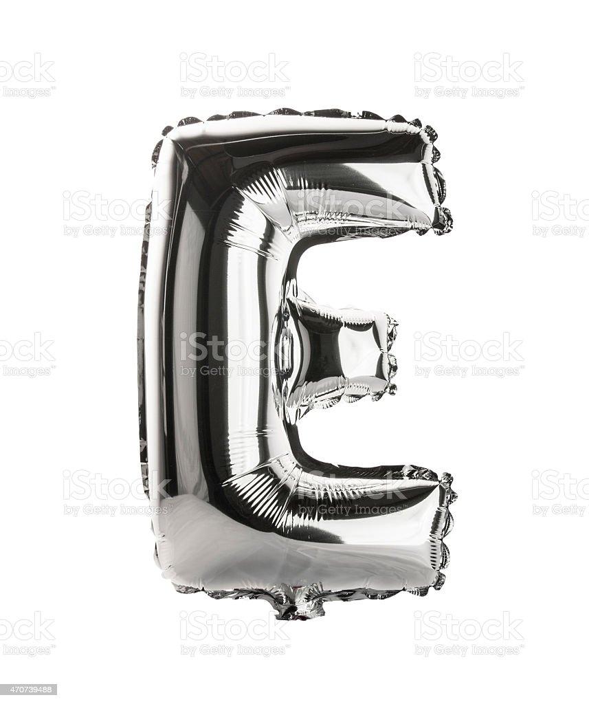 Chrome balloon font part of full set upper case , E stock photo