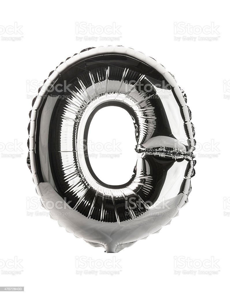 Chrome balloon font part of full set upper case , O stock photo