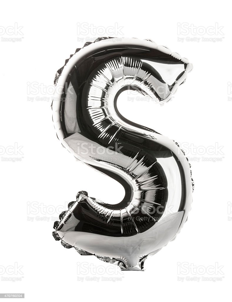 Chrome balloon font part of full set upper case, S stock photo