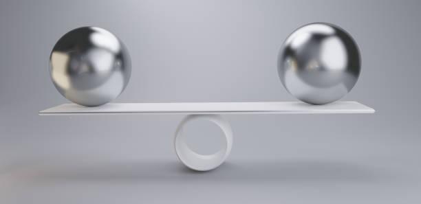 Chromkugeln auf einer Skala 3D-Illustration hellgrau weiß – Foto