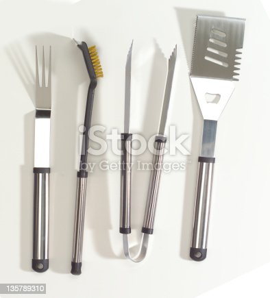 Upscale, chrome barbecue utensil set